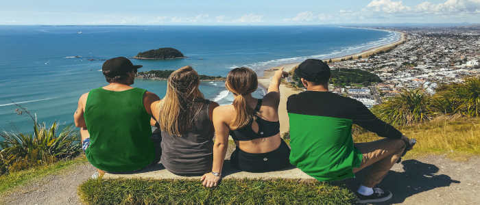 4 people on hill NZ